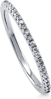 Rhodium Plated Sterling Silver Wedding Half Eternity Band Ring Made with Swarovski Zirconia