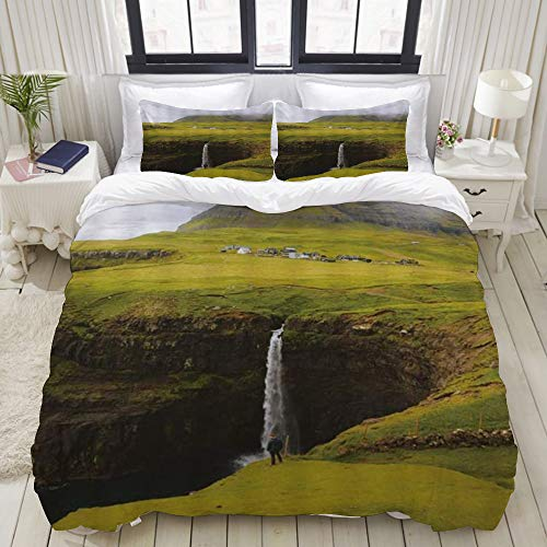 Yaoniii bedding - Duvet Cover Set, Nature Rare Plateau Waterfall Landscape Deep Valley Waterfall Highland Pasture Tent Farmhouse Mist,3-Piece Comforter Cover Set 200 x 200 cm +2 Pillowcases 50 * 80cm
