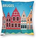 Stad Gebouw Poster Brugge België Reisstijl Kussensloop