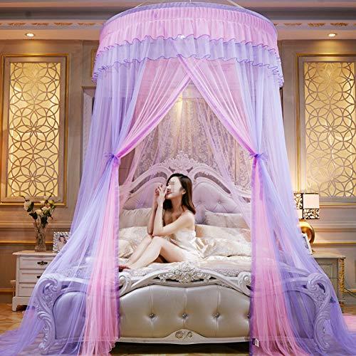 TYX-SS Doppel Hängen Moskitonetz, Domehanging Bed Canopy Netting, Verschlüsselte Decke Spitze, Prinzessin Landung Moskitonetz,E
