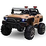 Aosom 12V Kids Electric 2-Seater Ride On Police Car SUV Truck Toy with Parental Remote Control Yellow
