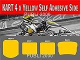 PUBLI 2000 Kart 4 x Self Adhesive Side Yellow Background Vinyl Sticker Race