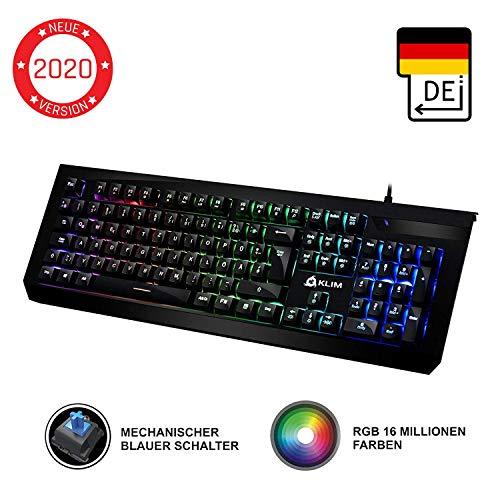 KLIM Domination - DEUTSCHE - Mechanische RGB-QWERTZ-Tastatur - Neue 2020 - Blaue Tasten - Schneller Präziser Angenehmer Tastenanschlag - VOLLSTÄNDIGE FREIHEIT BEI DER FARBAUSWAHL PC PS4 Xbox One