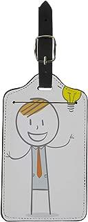 Pinbeam Luggage Tag Yellow Man Doodle Stick Figure Businessman Big Idea Suitcase Baggage Label