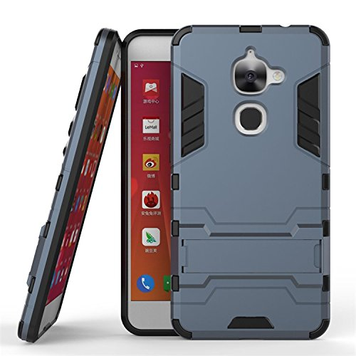 LeEco Le S3 Hülle, 2 in 1 Hybrid Hülle Heavy Duty Rugged Hard Hülle Shock Resistant mit Standfuß Backcover Hülle Handy Schutzhülle Schale Tasche Cover für Letv LeEco Le S3 / Le 2 / Le 2 Pro (Blau grau)
