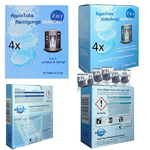 AquniTobs Sparpack - 4 x Reinigungstabletten 10 x 2,4 Gramm - 4 x Entkalkungstabletten 8 x 15 Gramm
