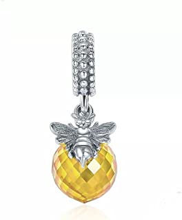 Honeybee & Yellow Ball Charm Bee Charm 925 Sterling Silver Animals Charm for European Bracelet
