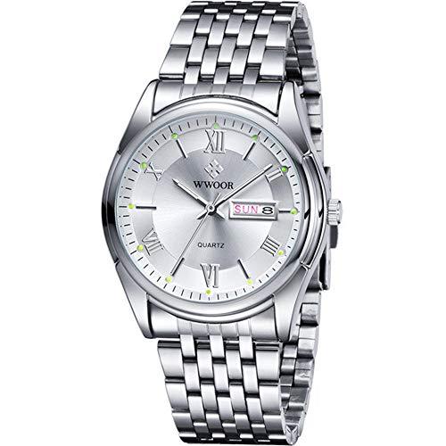 Relojes para Hombres Marca Día Fecha Hora Luminosa RelojHombre Plata Acero Inoxidable Relojde Cuarzo de Negocios Relojdeportivo para Hombre
