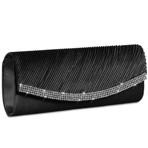 Caspar TA291 Bolso de Mano Fiesta para Mujer Clutch de Satén con Estrás, Color:negro
