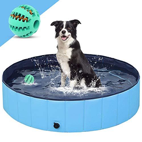 Piscina para Perros,Plegable Piscina para Niños Antideslizante PVC Bañera para Perros, Regalo con Pelota para Perros (S-80*20cm)