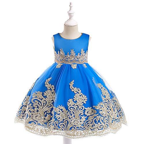 Generic Robe de Princesse pour Fille - Couleur Unie - Brodée à Fleurs - Costume de Noël