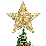 Stobok, Puntale per albero di Natale a forma di stella glitterata, 25 x 30 cm, colore: dorato