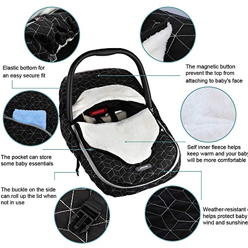 Yoofoss Baby Car Seat Cover Winter Carseat Canopies Cover to Protect Baby from Cold Wind, Super Warm Plush Fleece Baby Carrier Cover for Infant Boys Girls (Black)