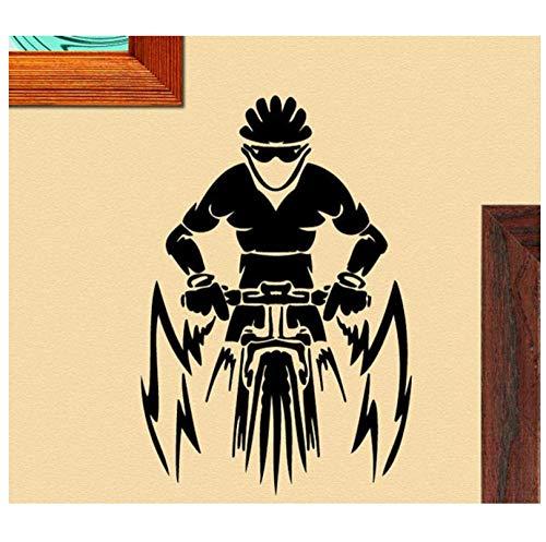 Mountainbike bestuurder met helm speciale muursticker extreme sport behang voor home room art decor vinyl muur sticker 39x58Cm