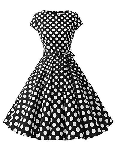 Dressystar Damen Vintage 50er Cap Sleeves Dot Einfarbig Rockabilly Swing Kleider Schwarz Weiß Dot B M