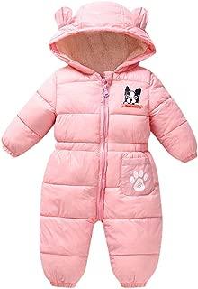 MOMKER Baby Down Jacket Hooded Jumpsuit Infant Boys Girls Cute Zipper Long Sleeve Winter Snowsuit Coat Romper