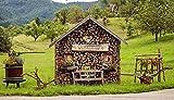 Casa de madera flor vacaciones ocio,rompecabezas de madera verde para adultos/rompecabezas para adultos/puzzle 1000 piezas