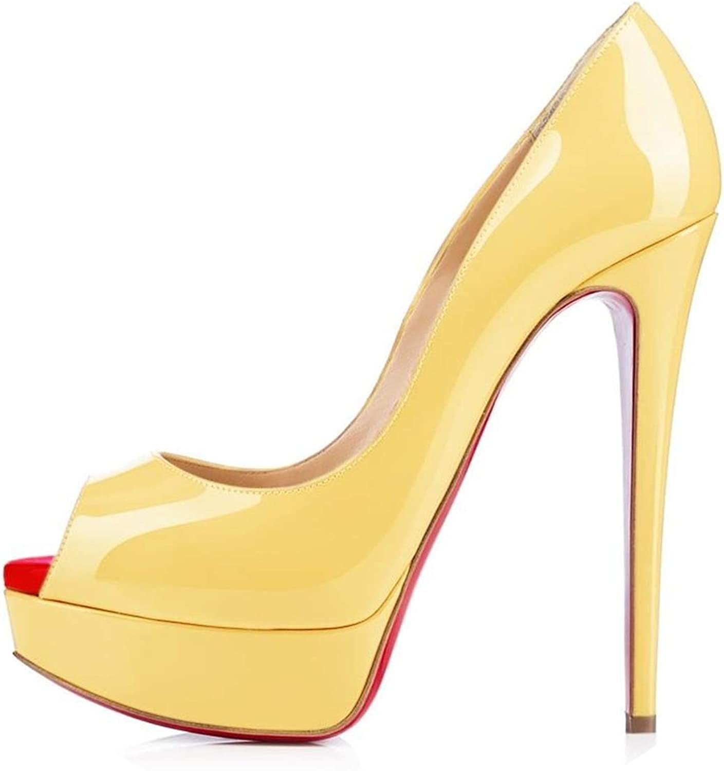 LAIGEDANZI Womens Pumps Leather Wedges Platform Stiletto High Heels Open Toe Sexy Party shoes,Yellow,11