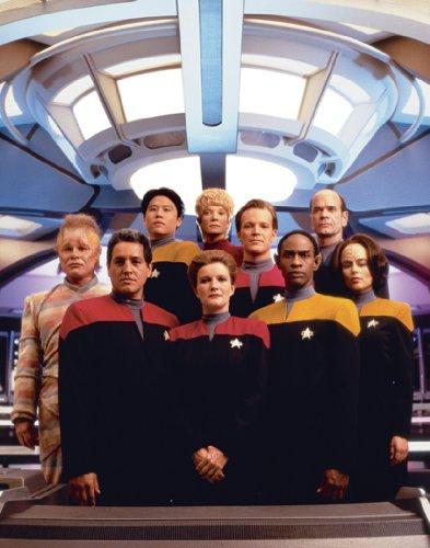 Star Trek Voyager Crew Group Shot SCI FI TV Fernseher Rare Vintage Kante Original Lager Postkarte Poster Print 11x 14
