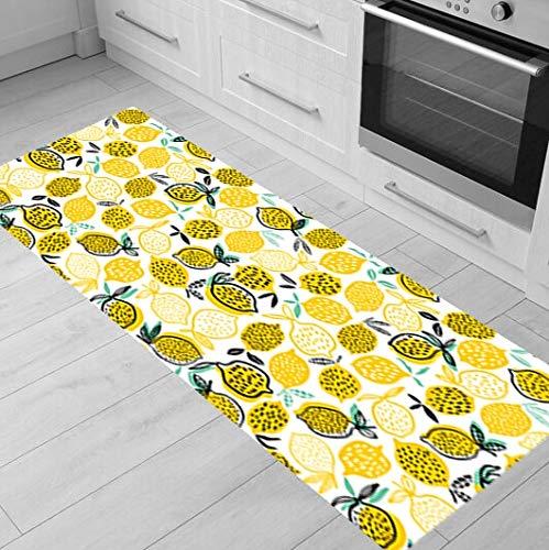 OPLJ Rutschfeste Fußmatte, Zitronengelb, Küchenteppich, Küchenmatte, Teppich für...