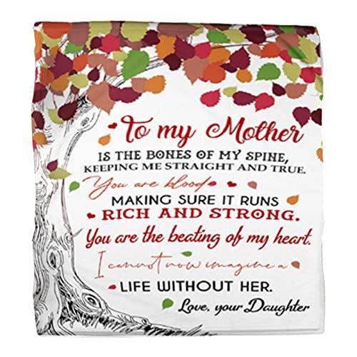 Manta con estampado de letras para regalo para mi madre, manta de franela súper suave, cálida para uso diario, ama a tu hijo e hija, F, 150 x 130 cm