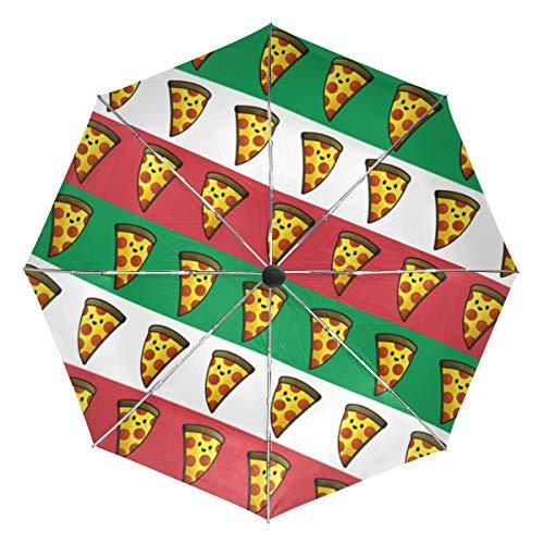 Italian Flag Pizza Sun&Rain Automatic Umbrella Windproof Travel UV