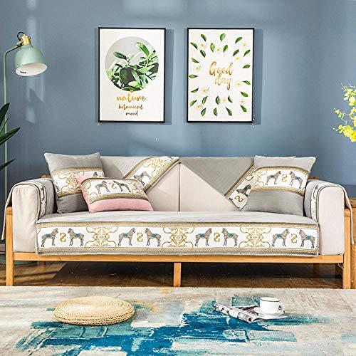 B/H Stylish Sofa Cover for Living Room,Four seasons universal sofa cushion, non-slip cushion-gray_90*240cm,Elastic Armchair Cover