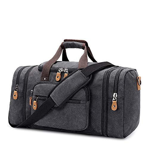 Plambag Expandable Canvas Duffle Bag for Men, 50L - 60L Large Holdalls for Men with Multi-pockets, Overnight Weekend Bag, Unisex Travel Duffle, Weekender Bag for Men and Women Gym Bag (Dark Grey)