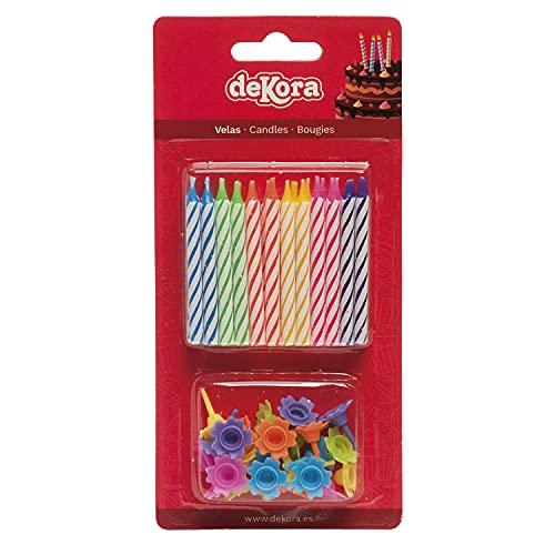 Dekora - 345309 Lot de 24 Bougies d anniversaire Cire Multicolore