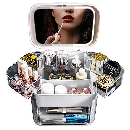 Multifunctional Makeup Organizer with Dustproof,Large Capacit with Mirror,Portable,Jewelry Display,Fashion Skincare Cosmetics Storage Box with Drawers,for Bathrooms Countertop(White)