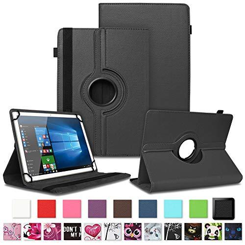 NAUC Tablet Schutzhülle für Sony Xperia Z4 aus Kunstleder Hülle Tasche Standfunktion 360° Drehbar Motiven Cover Universal Hülle, Farben:Schwarz