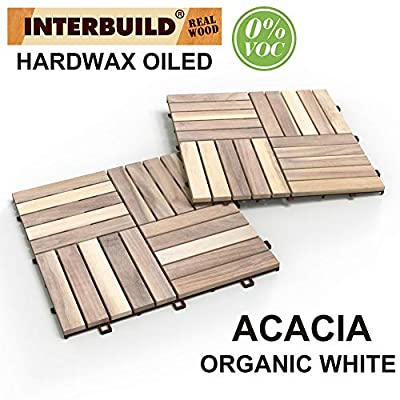 "INTERBUILD REAL WOOD Acacia Hardwood Deck and Patio Easy to Install Interlocking Flooring Tiles 12""×12""×5/8"" - 10 Tiles/Pack - Totally 10 Sq. Ft."