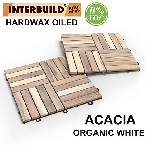 """INTERBUILD REAL WOOD Acacia Hardwood Deck and Patio Easy to Install Interlocking Flooring Tiles 12""""×12""""×5/8"""" - 10 Tiles/Pack - Totally 10 Sq. Ft."""