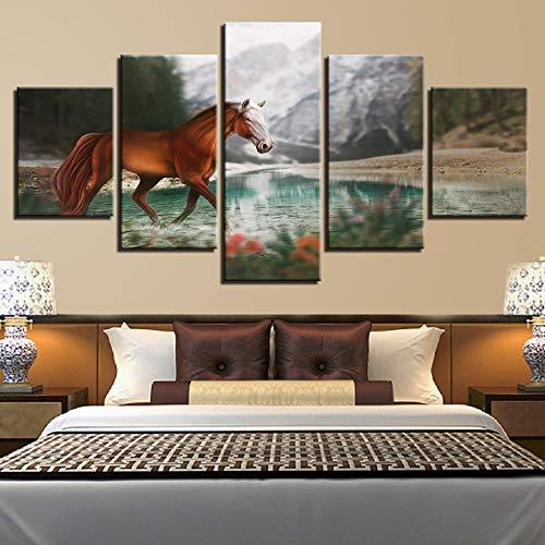 FDD5P Cuadros Lienzo,El Caballo,Painting Pinturas murales Decoración Impresiones Home Sala de Estar Cocina Dormitorio,5 Partes/Sin Marco