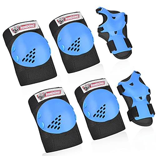 RUNDONG Kids/Youth Knee Pads Set, 6 in 1 Kit Protective Gear Knee Elbow...