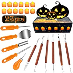 🎃[ALL-IN-ONE COMPLETE SET] - There are 23 Pcs professional pumpkin carving set includes a beautiful box, a flannel bag, 11 Professional Pumpkin Carving Tool, 6 pieces double-sided stainless steel detail sculpting, cutting and carving tools, 1 piece d...