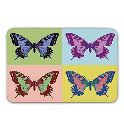 LIS HOME Schmetterlingsdekorationen Gummiunterlage rutschfeste Fußmatten, Pop Art Schwalbenschwanz-Pavillons Wild Life Transzendente Energien wundersamer Flügel Fußmatten Fußmatten Teppiche Badematte