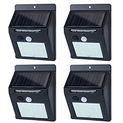 Solar Lights Outdoor Motion Sensor, 20 LED Flood Lights Wide-Angle Bright Waterproof Lighting Lamps with Motion Activated Auto On/Off for Home Security, Patio, Wall, Pathway, Garden, Yard(4-Pack)