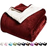 LBRO2M Sherpa Fleece Bed Blanket Twin Size Super Soft Fuzzy Plush Warm Cozy Fluffy Microfiber Couch Throw Velvet Double Reversible Luxurious Blankets,Red