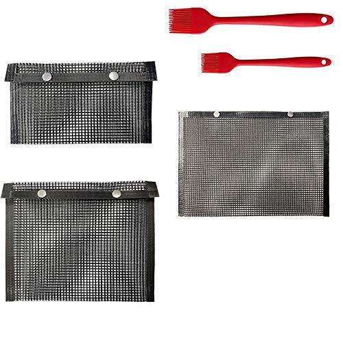 Nrpfell BBQ Grill Mesh Bag Reutilizable Antiadherente BBQ Baked Bag con Cepillo para Picnic Al Aire Libre Cocinar Barbacoa