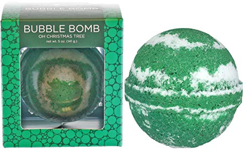 Oh Christmas Tree Bubble Bath Bomb by Two Sisters Spa. Large 99% Natural Fizzy for Women, Teens and Kids. Moisturizes Dry Sensitive Skin. Releases Color, Scent, and Bubbles. Handmade in USA