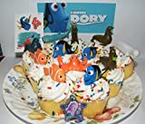 Finding Dory Disney Deluxe Mini Cake Toppers Cupcake Decorations Set of 14 with Figures, a Sticker Sheet, ToyRing Featuring Dory, Nemo and Mnay More!