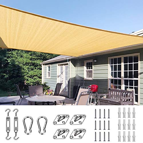 Quictent 26'x20' 185HDPE Rectangle Sun Shade Sail Outdoor Patio Lawn Garden Canopy Top Cover 98%...