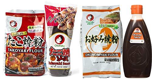 Otafuku Takoyaki and Okonomiyaki Set | Flour and Sauce Combo | 16 Oz Flour | 17.6 Oz and 10.6 Oz Sauce