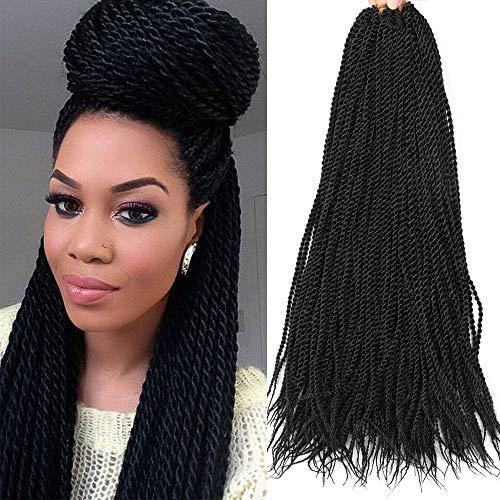 Senegalese Twist Crochet Hair 6Packs 22 Zoll Small Havana Mambo Twist Crochet Braids Synthetische Flechthaarverlängerungen (1B)