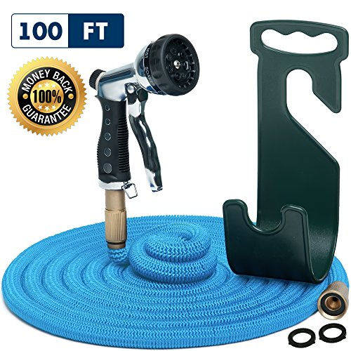 Vela Water Hose – Large Expandable Garden Hose - Hose Holder and High Pressure Washer Hose Spray Nozzle with 7 Settings – Solid Brass Fittings - Heavy Duty Outdoor Kink Free Flex Hose
