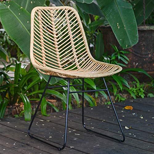 Casa Moro Rattan-Stuhl Valencia Natur aus Naturrattan handgeflochten | Premium Qualität Vintage Korb-Stuhl | Retro-Stuhl für Küche Garten Terrasse Esszimmer | IDSN41