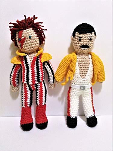 Freddie Mercury und David Bowie 2 handgefertigte Puppen. 2 der besten Rockstars aller Zeiten,