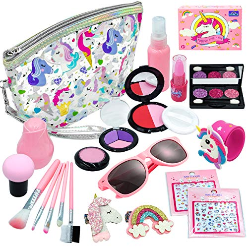 Play Makeup for Girls - 21 Piece Fake Pretend Makeup for Girls - My First Purse Kid Makeup Kit for Girls and Toddlers with Unicorn Cosmetic Bag -Ideal Toy for 3 4 5 6 7 Years Old Girls Toddlers