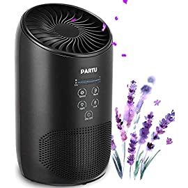PARTU HEPA Air Purifier - Smoke Air Purifiers for Home with Fragrance Sponge - 100% Ozone Free, Lock Set, Eliminates… 1 【Efficient Three-Stage Filtration System】 PARTU HEPA Air Purifier features a three-stage filtration system. This comprises a pre-filter, a HEPA filter and an activated carbon filter, powerful enough to captures up dust, pollen, smoke, odor, pet dander, filters particles as small as 0.3 microns and air pollution of PM 2.5. 【Air Purifier With Fragrance Sponge】Add a drop of essential oil (Not Included) and some water into sponge below the purifier air outlet, then fragrance will flow with air movements. (Such as Citrus, Honeydew Melon, Musk, Vanilla, Orris or Vetiver) 【Lock Set】It's efficient to avoid error operation caused by pet or child's during their curiosity. (Keep pressing the Lock button for 3 seconds to start avoiding touching mode.) Three fan settings let you control the speed and volume of the Air purifier.
